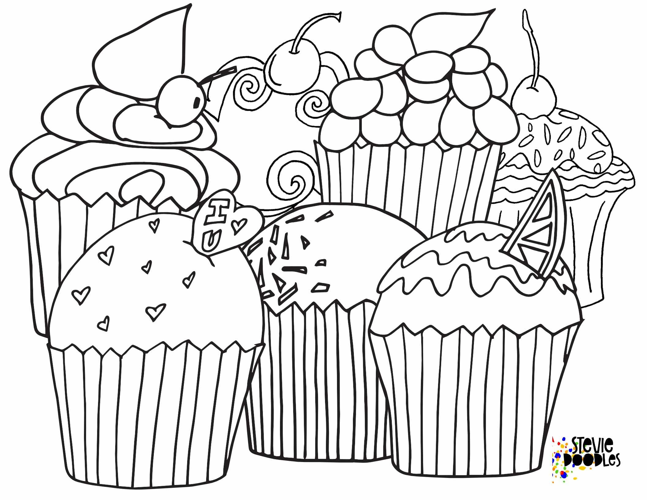Free Printable Cupcake Coloring Pages — Stevie Doodles Free