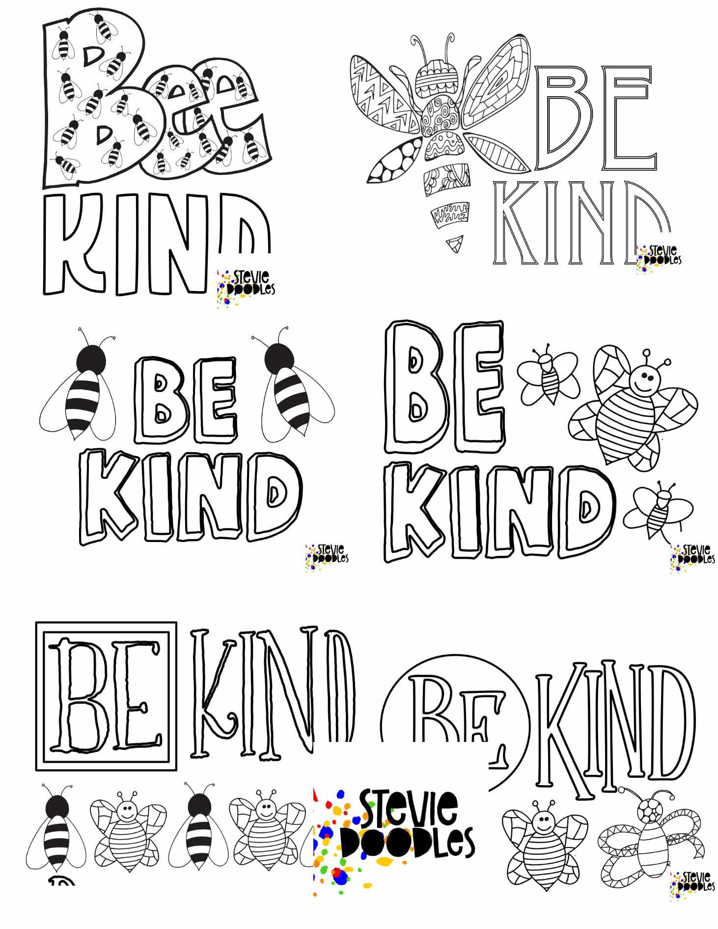 Free Bee Kind Coloring Pages Stevie Doodles Free Printable Coloring Pages