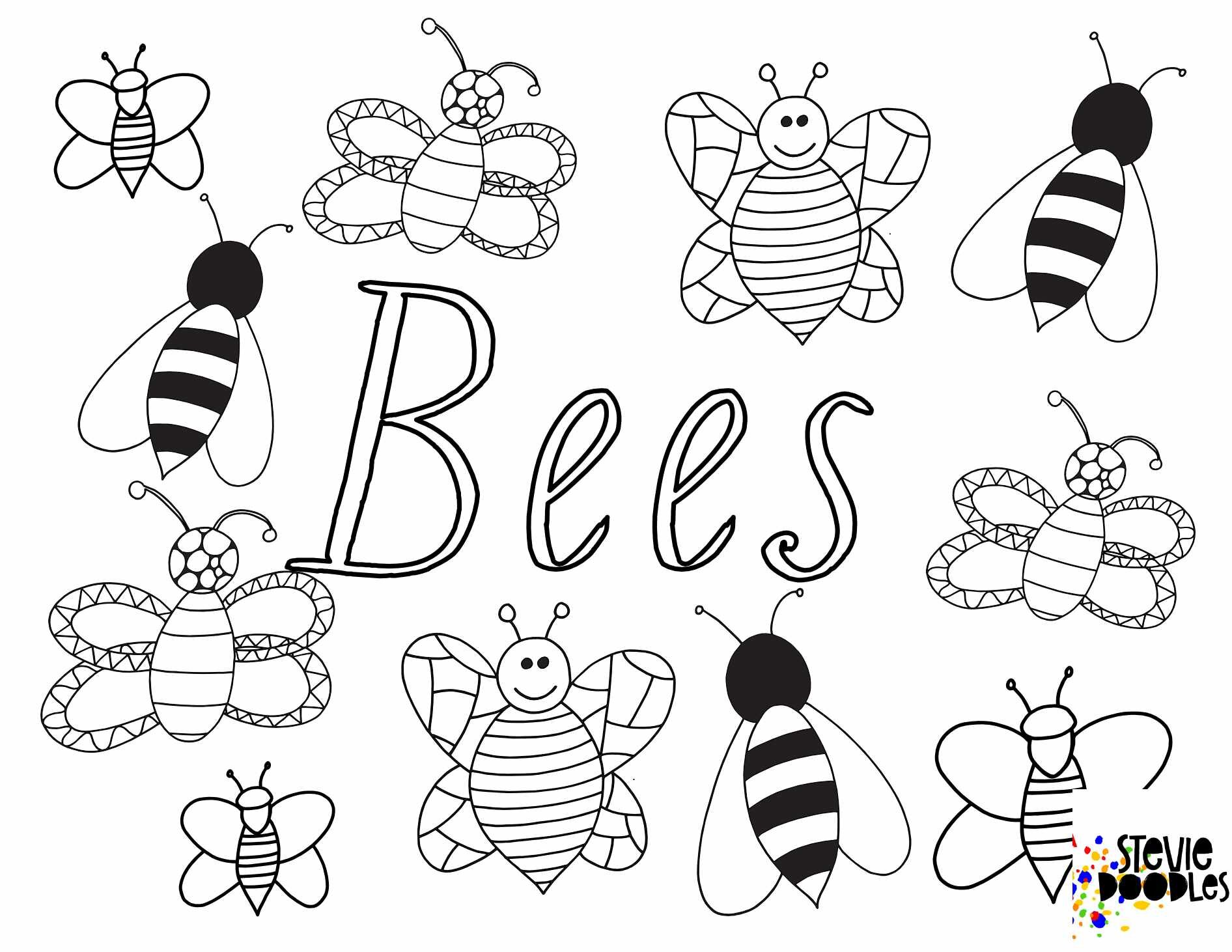 BEES! Free Printable Coloring Page — Stevie Doodles