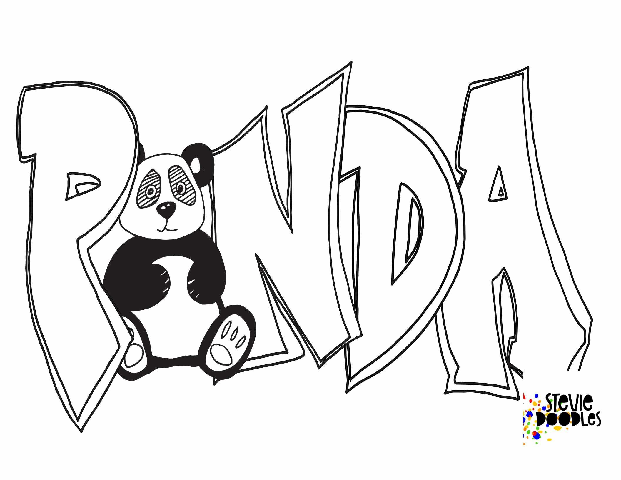 PANDA WITH GRAFFITI LETTERS- Free Printable Coloring Page — Stevie