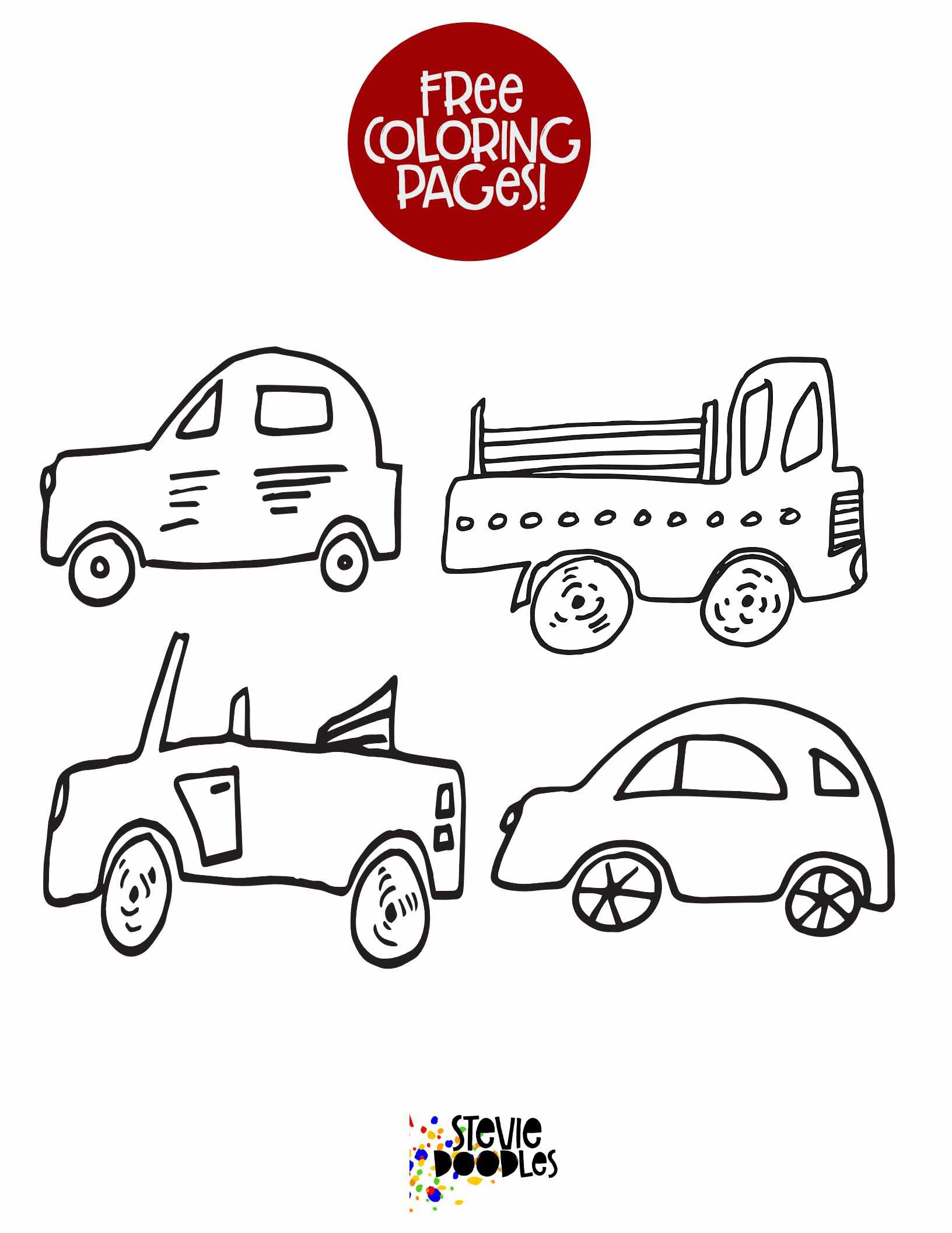 4 Little Cars Free Printable Coloring Page 1 Stevie Doodles Free Printable Coloring Pages