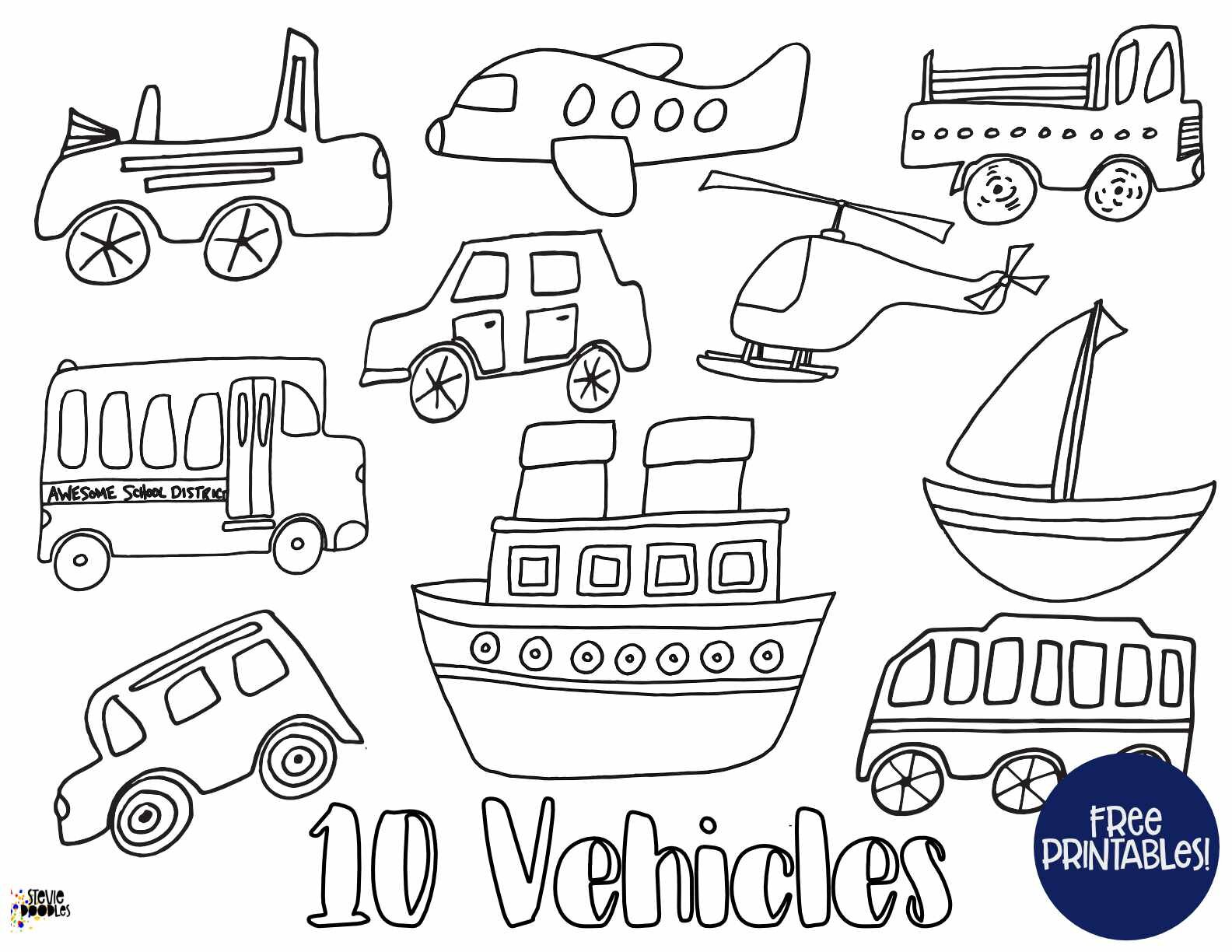 Vehicles Numbers 1 10 10 Pages With Cars Trucks Planes Helicopters Boats Stevie Doodles Free Printable Coloring Pages