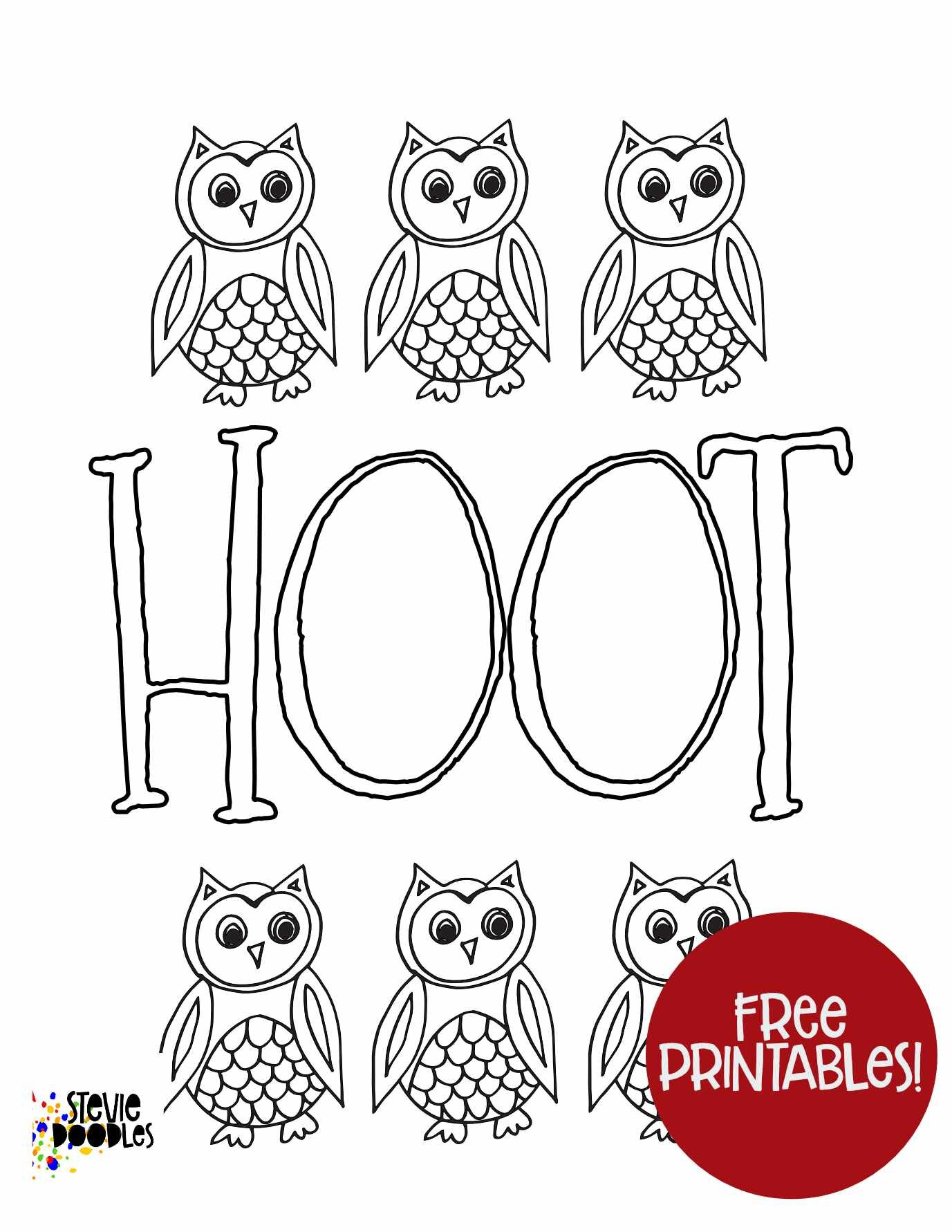 Hoot Free Printable Owl Coloring Page Stevie Doodles Free Printable Coloring Pages
