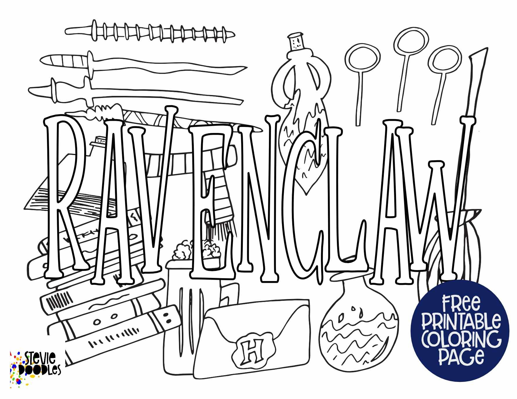 Free Printable Ravenclaw Coloring Pages — Stevie Doodles Free