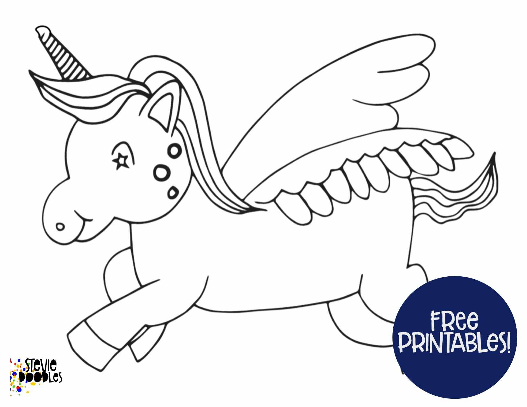 Free Printable Unicorn Coloring Page - Simple Unicorn — Stevie Doodles