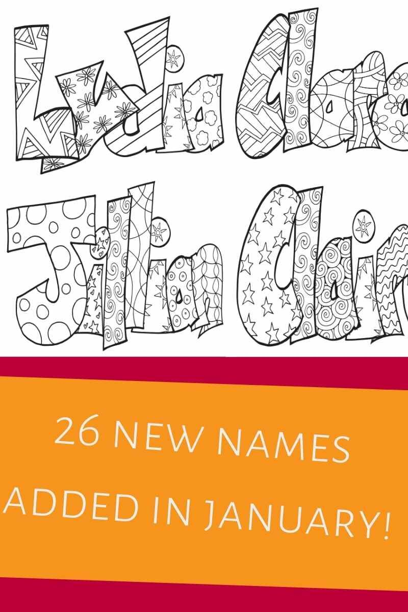 New Names In January 2021 Free Printable Name Coloring Pages Stevie Doodles Free Printable Coloring Pages