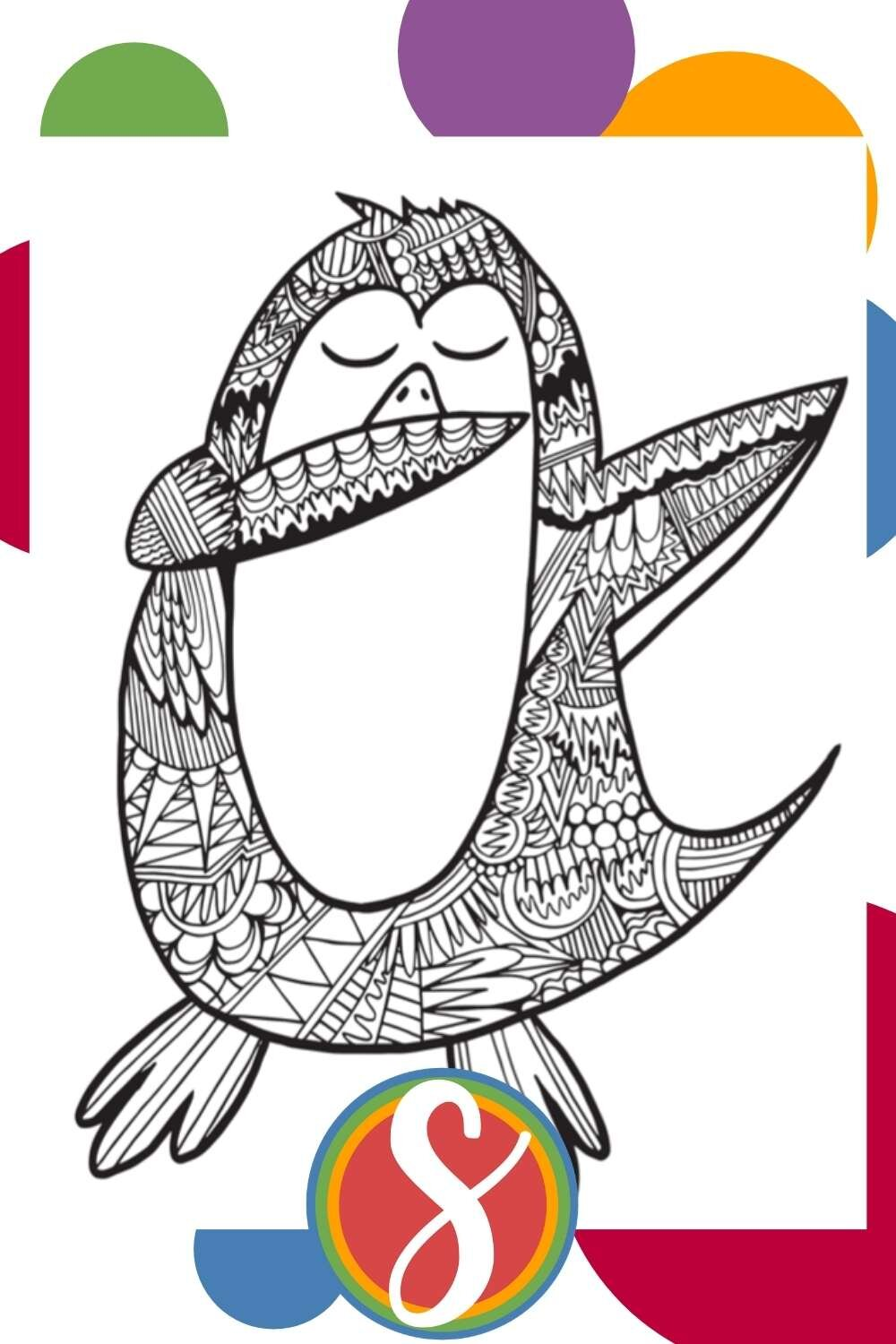 Dabbing Penguin - a free printable penguin coloring sheet by Stevie Doodles