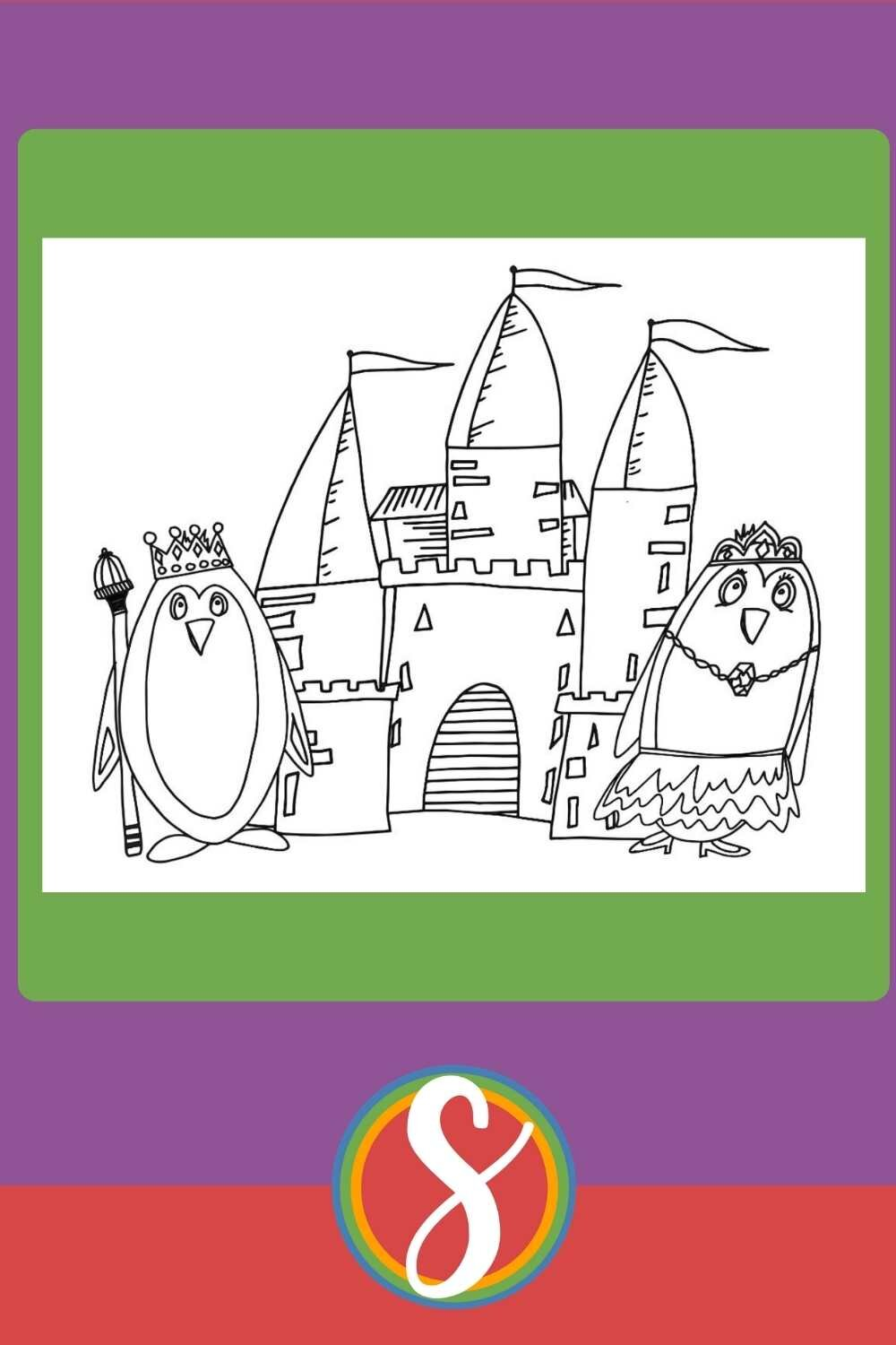 Free Penguin Coloring Pages - King & Queen With Castle