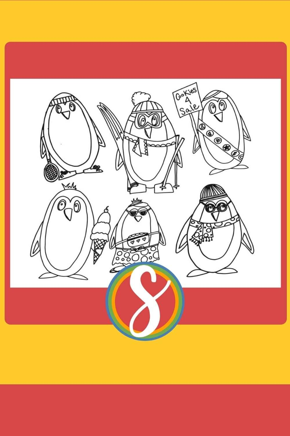 Free Penguin Coloring Page - A penguin family of six, print and color free from Stevie Doodles