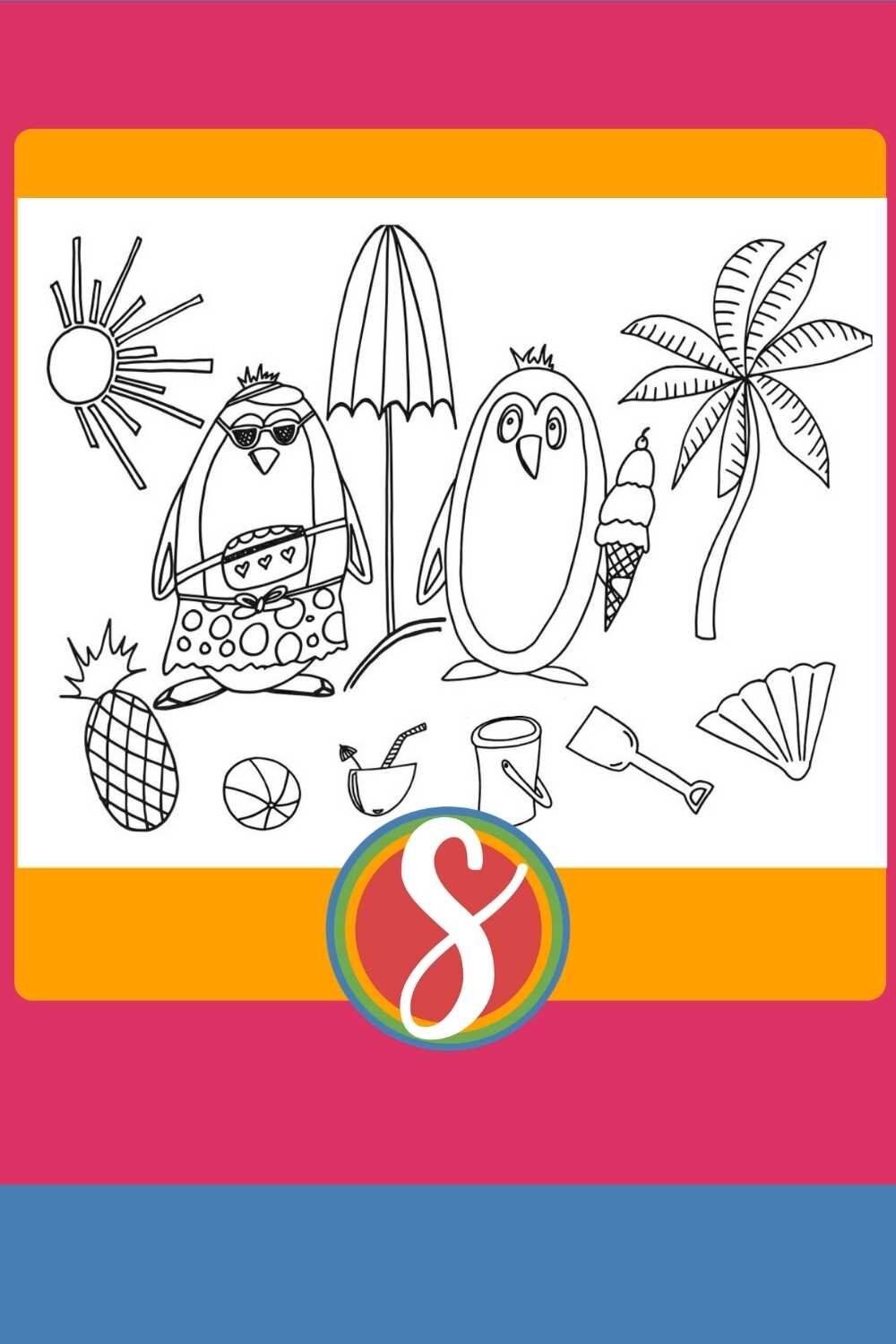 Penguins at the beach - free printable penguin coloring pages from Stevie Doodles