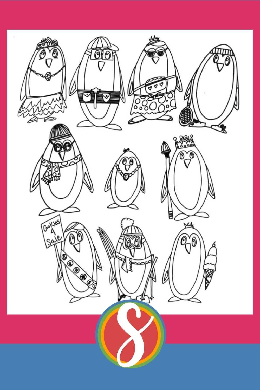 10 Penguins - Free printable penguin coloring pages from Stevie Doodles