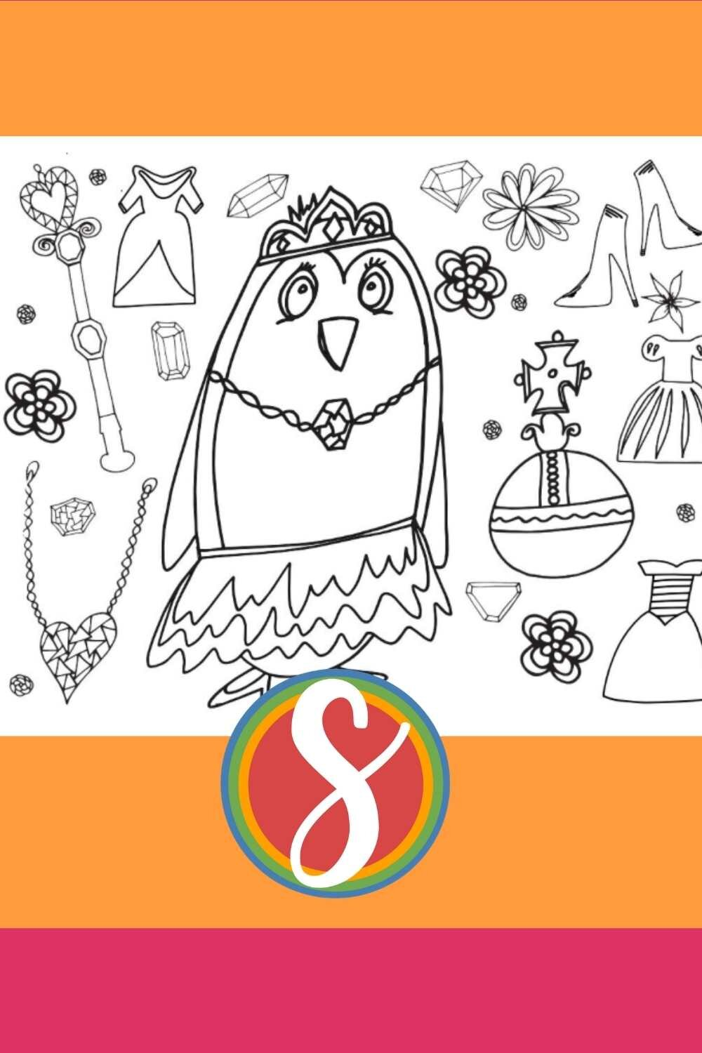 A Pretty Penguin Princess Coloring Page free to print and color from Stevie Doodles