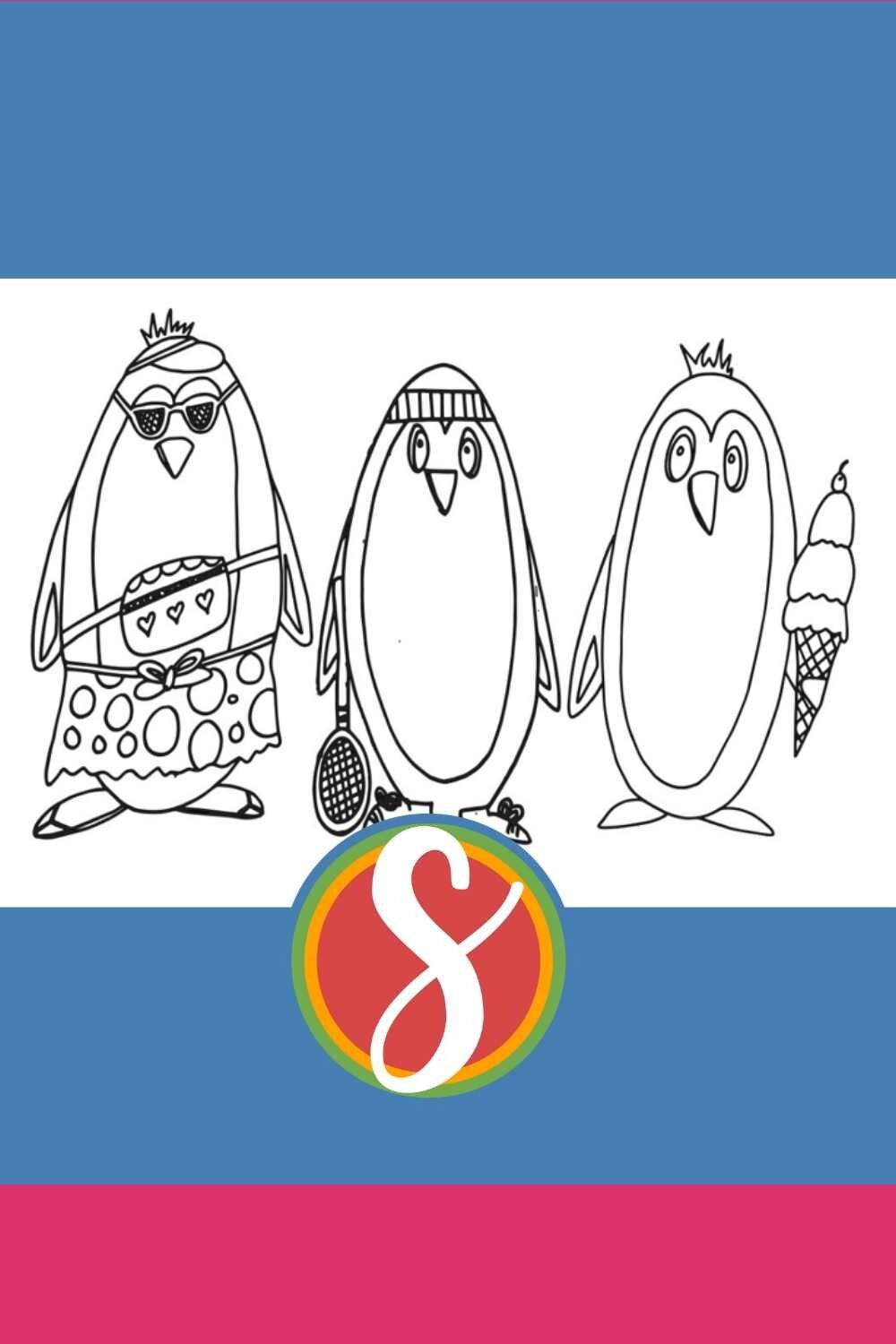 3 Cool Guy Penguin Coloring Page - free to print and color from Stevie Doodles