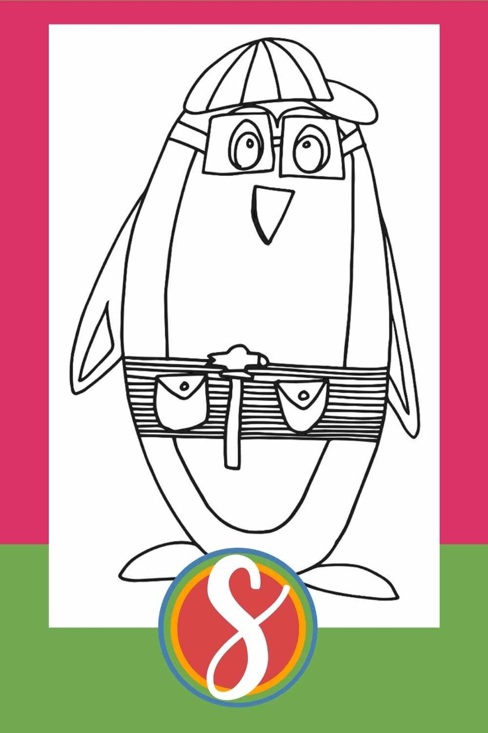 Construction Penguin - one of 30+ free penguin coloring pages from Stevie Doodles
