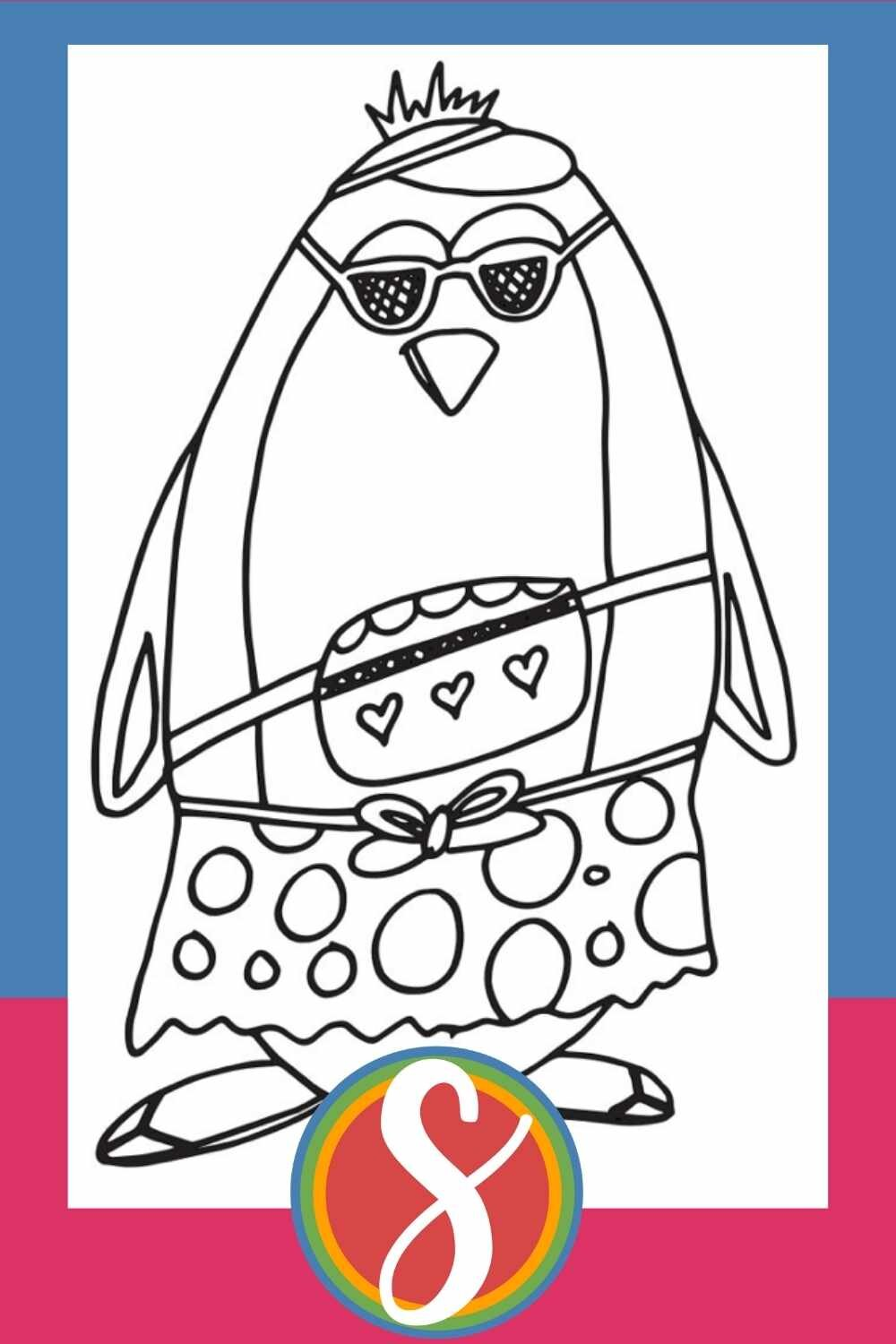Tourist Penguin - a free printable coloring page from Stevie Doodles + 30 more penguin coloring pages all in one post.