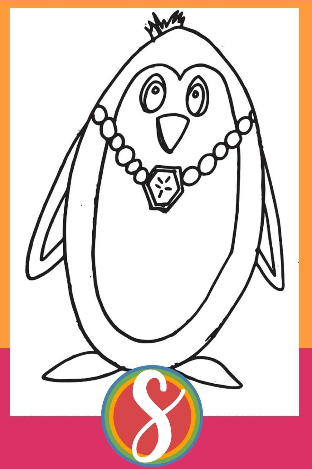 Penguin With A Necklace - A free printable penguin page from Stevie Doodles