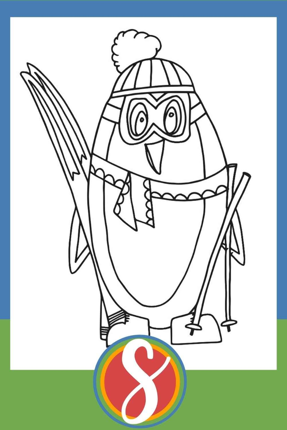 Skiing Penguin - A free penguin coloring page from Stevie Doodles + 30 more free penguin pages all in one post
