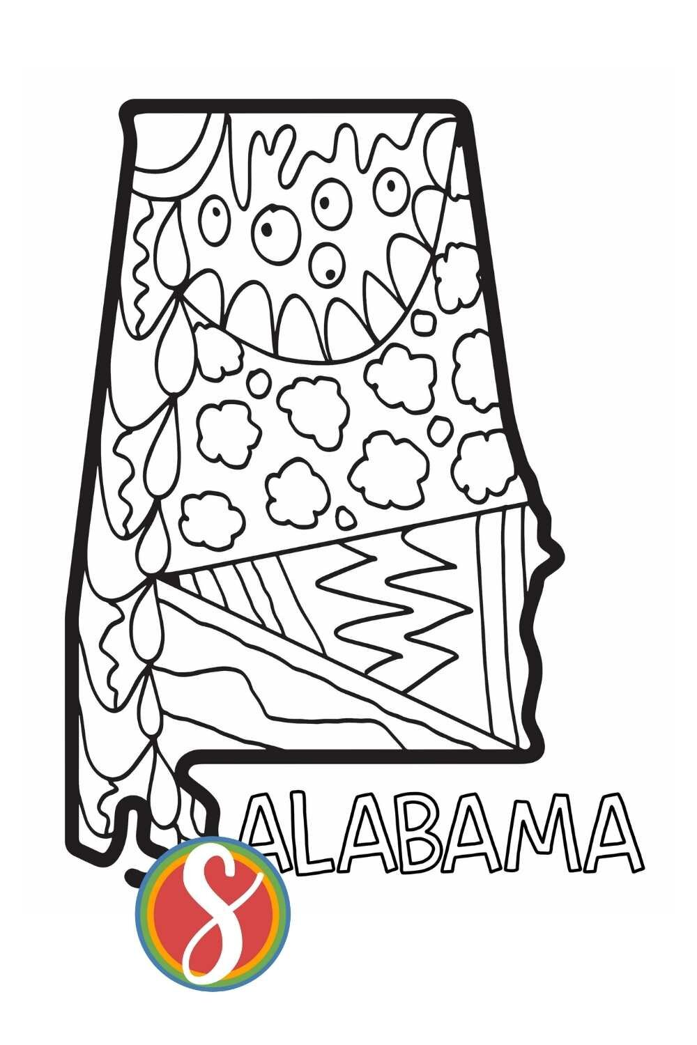 Free Alabama Coloring Pages State Activity Sheets Stevie Doodles Free Printable Coloring Pages