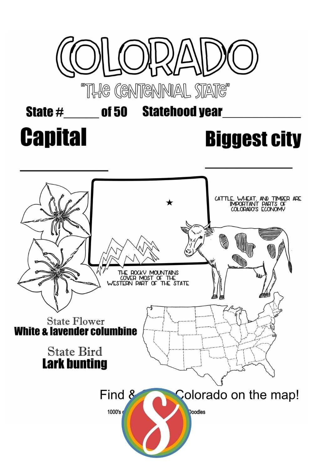 Free printable Colorado colour sheets from Stevie Doodles - Colorado activity pages you can print and also color today.