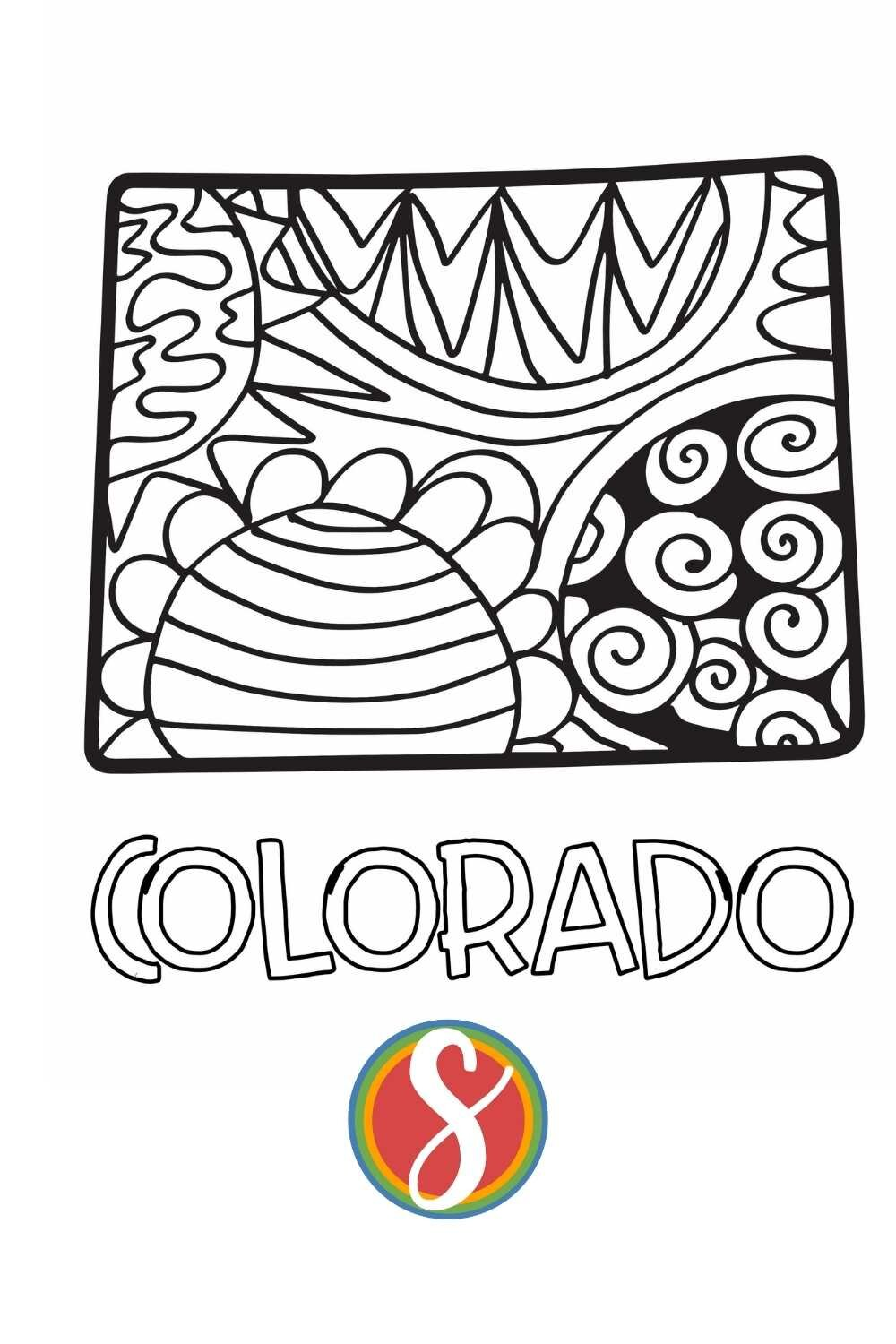 Free printable Colorado doodle coloring page from Stevie Doodles - print and also color this Colorado task sheet complimentary + find 1000's more complimentary printable color pages