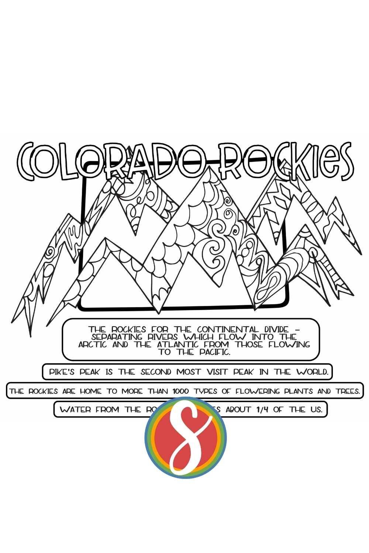 Free printable Colorado Rockies coloring page printable with facts about the Rockies - free printable activity sheets to check out Colorado