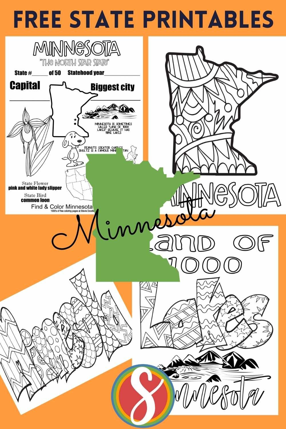 free printable states coloring pages- minnesota