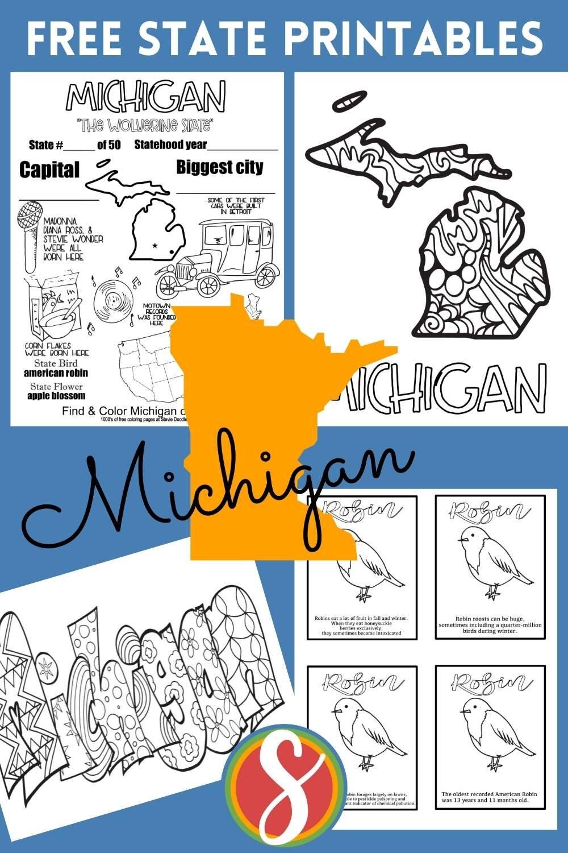 free printable us states coloring sheets - michigan