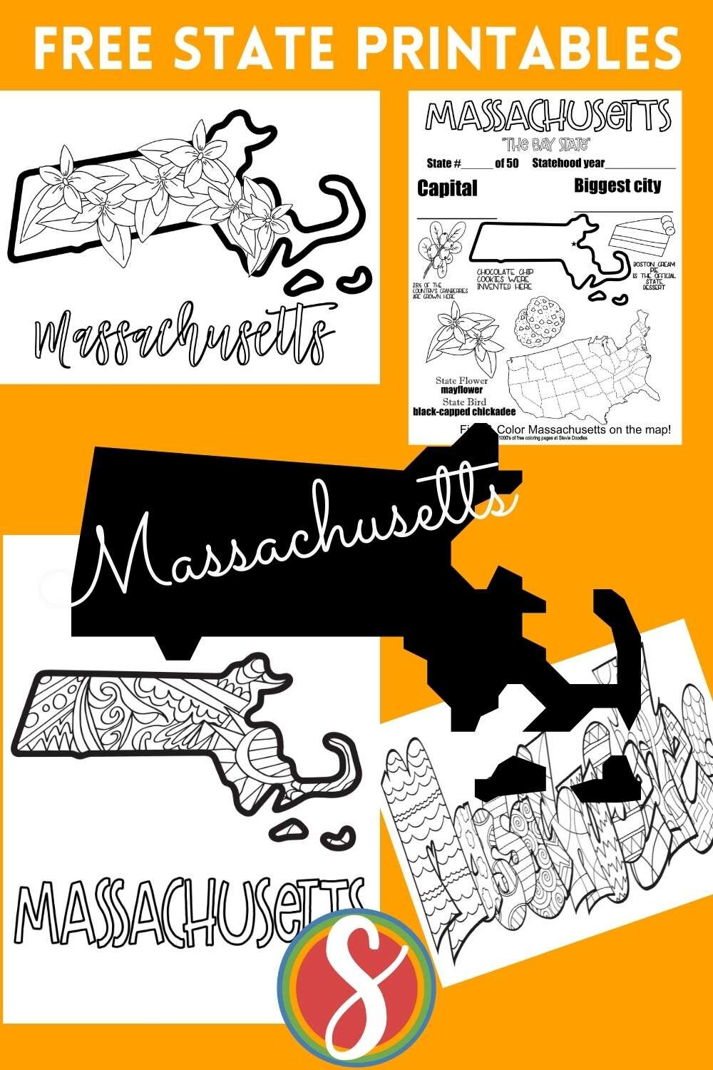 Stevie's collection of free U.S. states printable geography activity coloring pages - get Massachusetts + your state to print and color instantly today