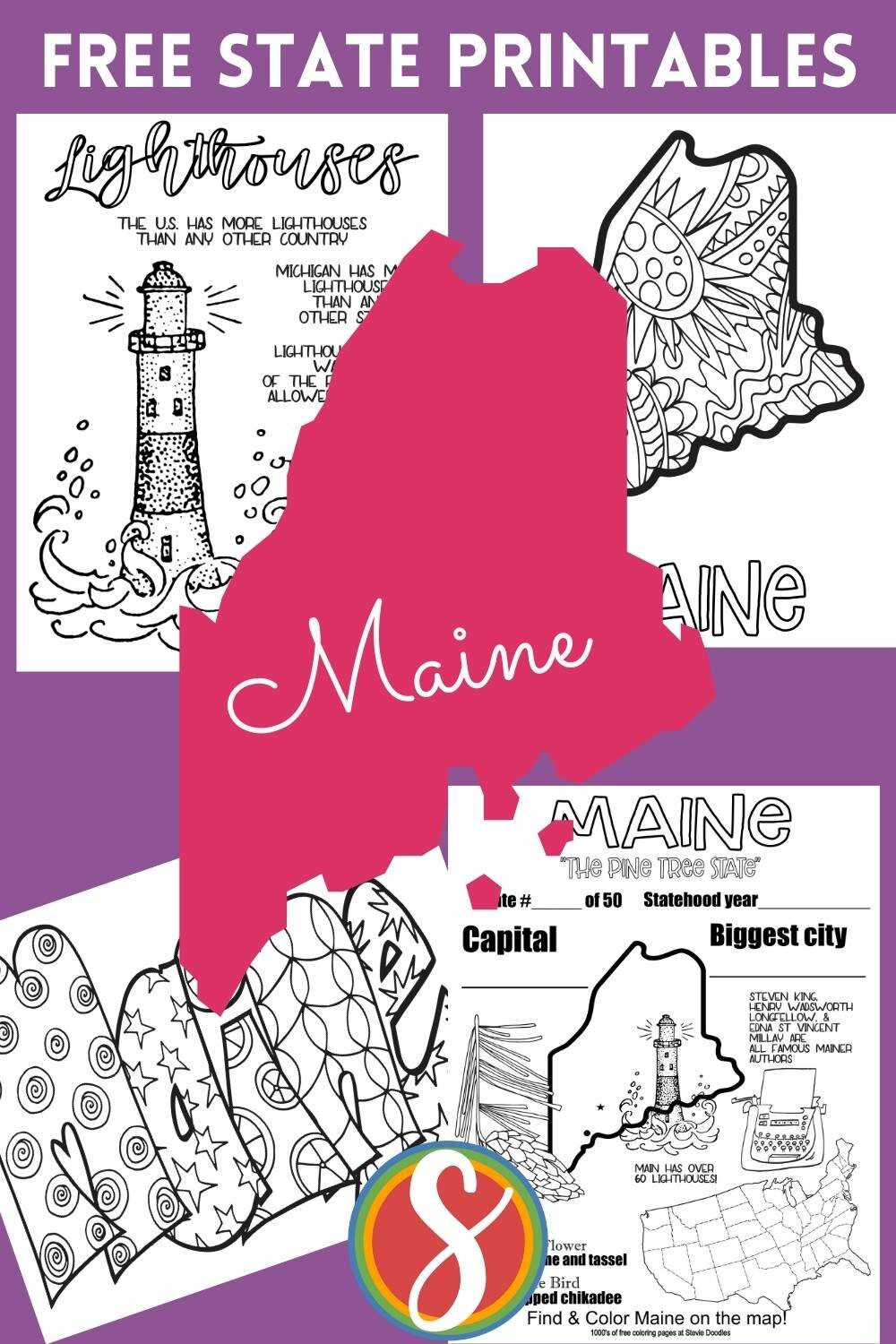 4 free printables to celebrate this U.S. state - Maine - please enjoy these coloring sheets from Stevie Doodles and find more U.S. states + 1000's of other coloring pages