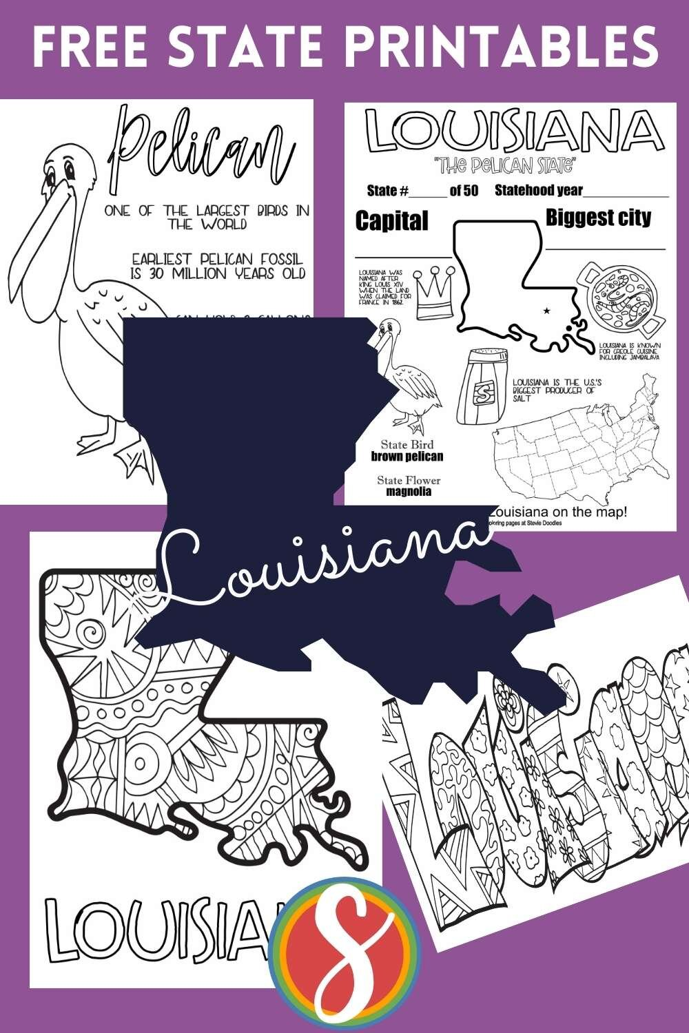 Louisiana! This state is part of my collection of all U.S. states coloring pages - I have 4 free coloring sheet printables for each of the 50 states in the US. Come visit Stevie Doodles for 1000's of free educational coloring pages