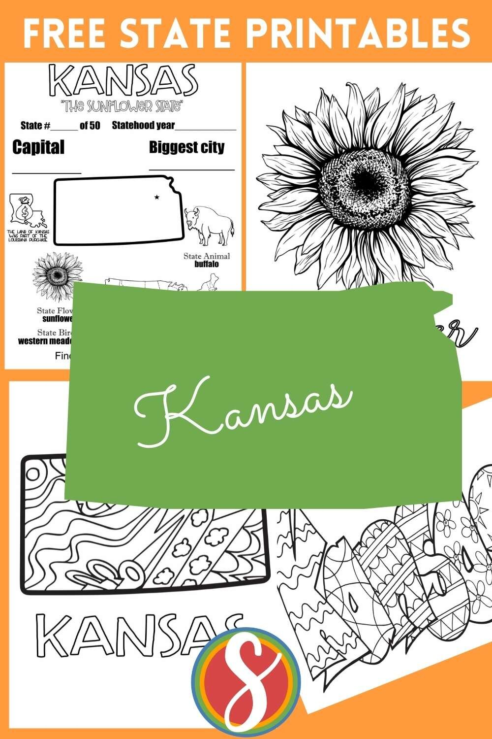 Free U.S. state geography printable activity pages - All 50 states at Stevie Doodles. Find your favorite state, or the one you're visiting, here + browse more free educational coloring pages