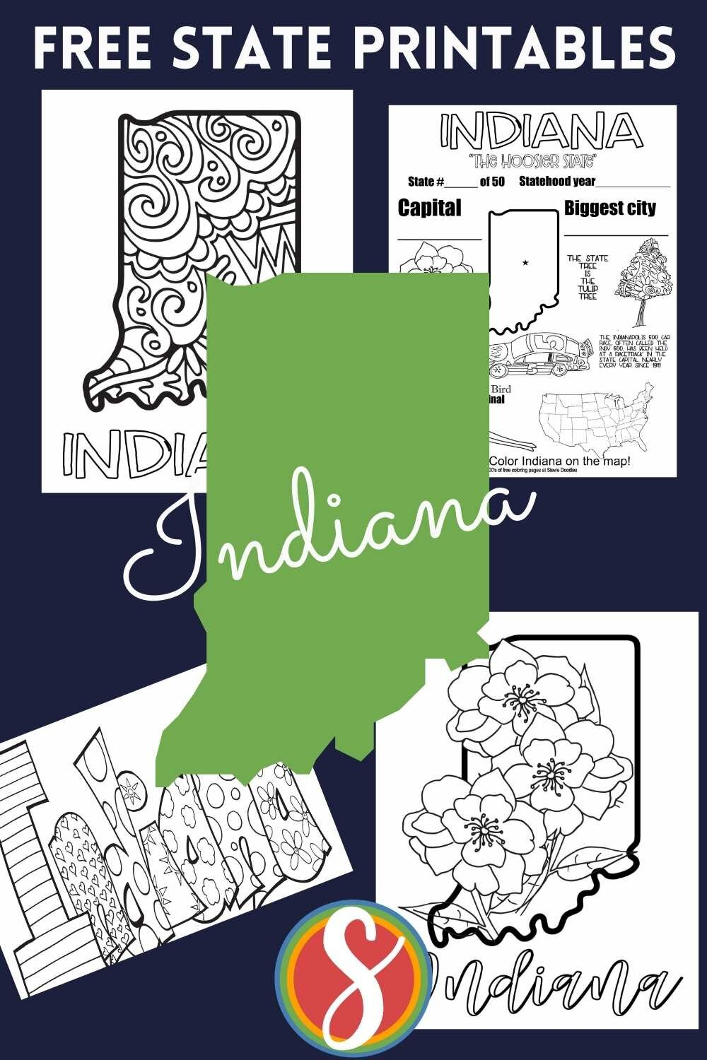 These Indiana coloring pages are part of my US states coloring collection - a post for every state with four coloring activity sheets from Stevie Doodles. Find tons of free coloring pages at Stevie Doodles