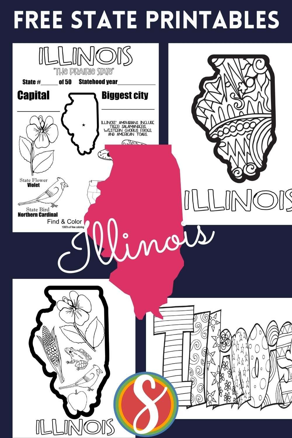 Free state activity coloring sheets from Stevie Doodles - all 50 state, four pages for each state - that's 200 coloring pages for your U.S. geography activities totally free from Stevie Doodles