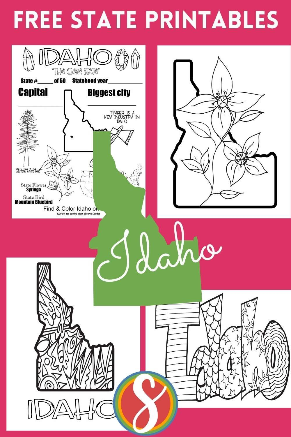 State coloring pages - free printable activity sheets for each of the 50 U.S. states. Browse 1000's of free printable coloring pages from Stevie Doodles