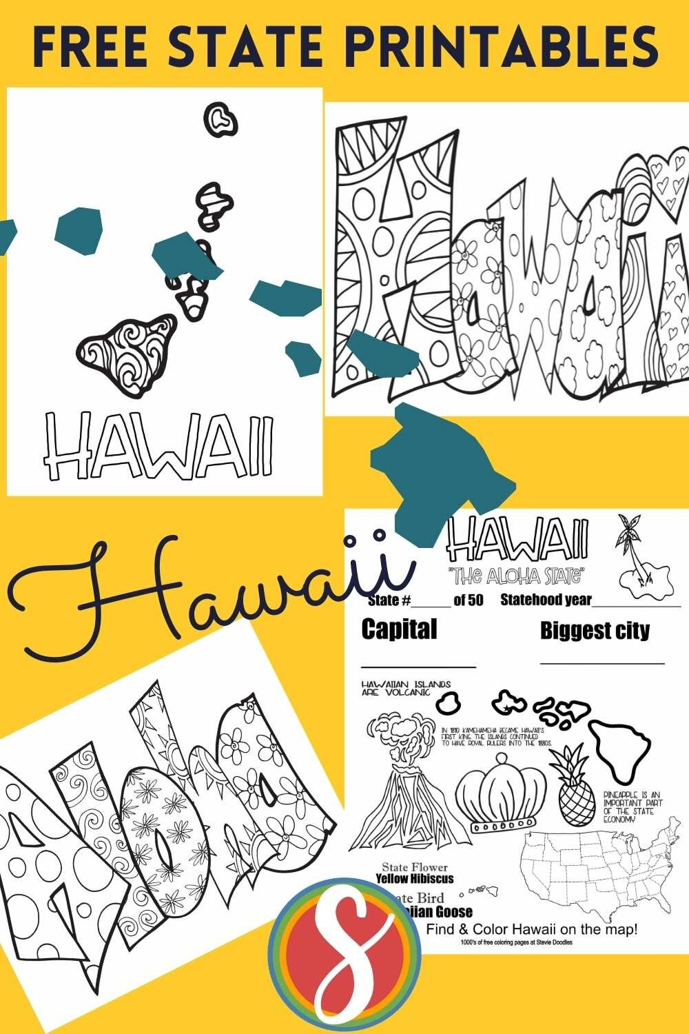 U.S. state - free printable coloring sheets from Stevie Doodles. 200 free state coloring pages to print and color as much and as often as you want. Did you hear that they are free? All the states? 4 pages for every state!