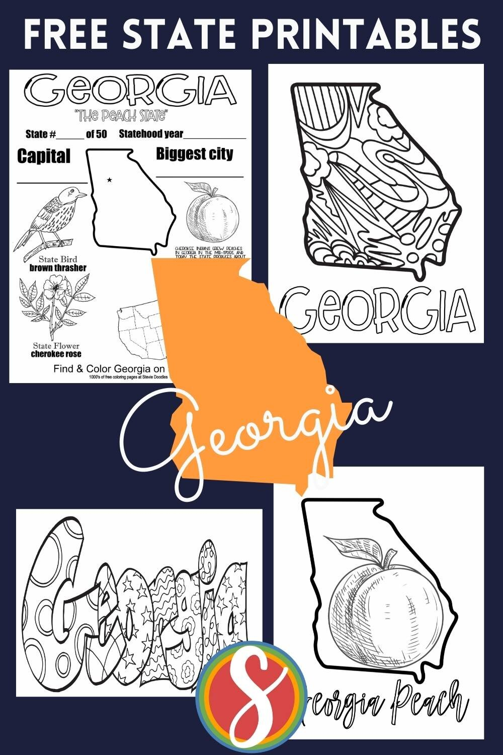 Free! 200 free US states coloring sheets from Stevie Doodles. Find your state and print your state activity pages as often as you need them.