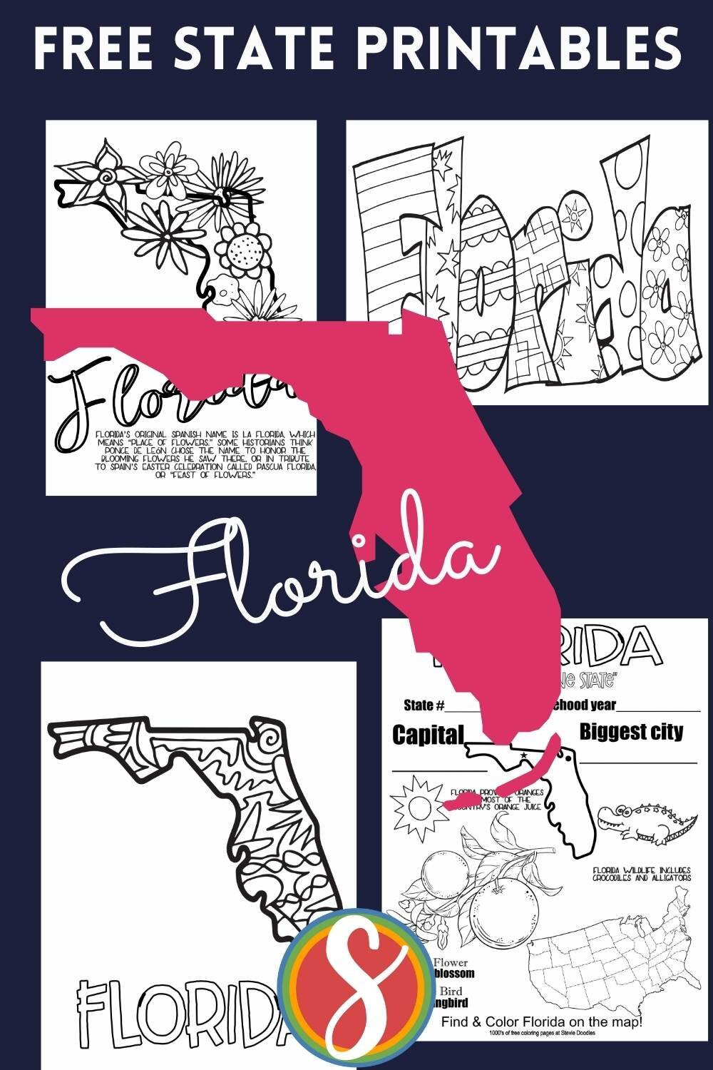 Free! US STATES free printable coloring sheets from Stevie Doodles - these activity pages were made especially for all of you who need some fun coloring pages with the state of the United States