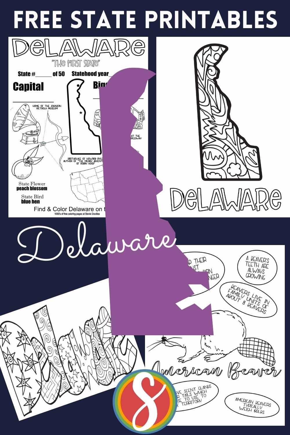 Free! US states activity page printables free to print and color from Stevie Doodles - Delaware + all of the other 50 states of the U.S.