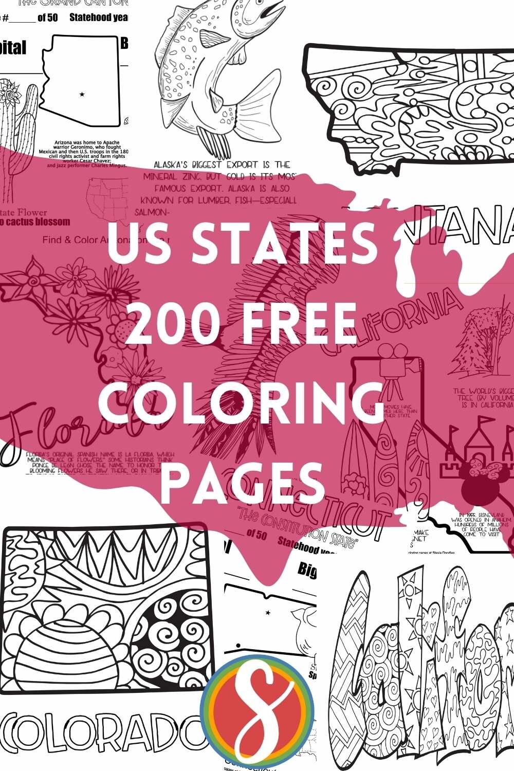 200 free state coloring pages - 4 pages for each of the 50 US States free to print and color from Stevie Doodles site fun of free coloring sheets