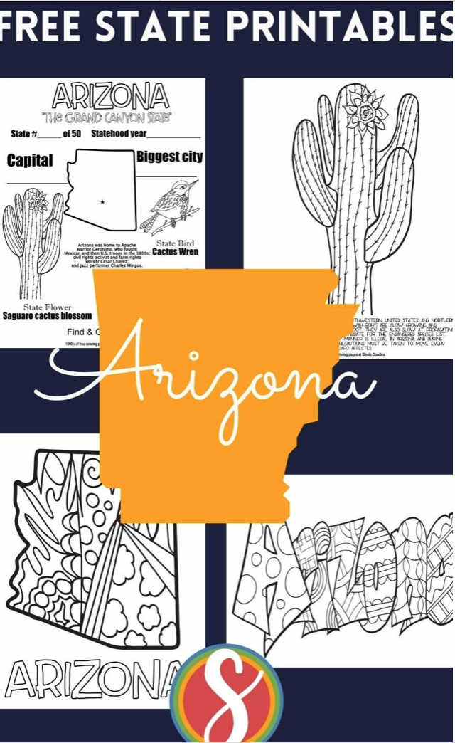 200 printable US geography coloring pages to print from Stevie Doodles - all 50 states