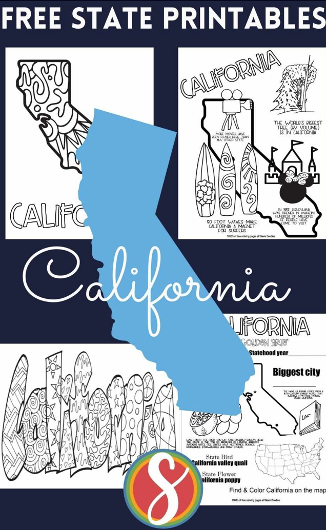 Free! 50 states in the US and 4 free pages about each US state to print and color from Stevie Doodles