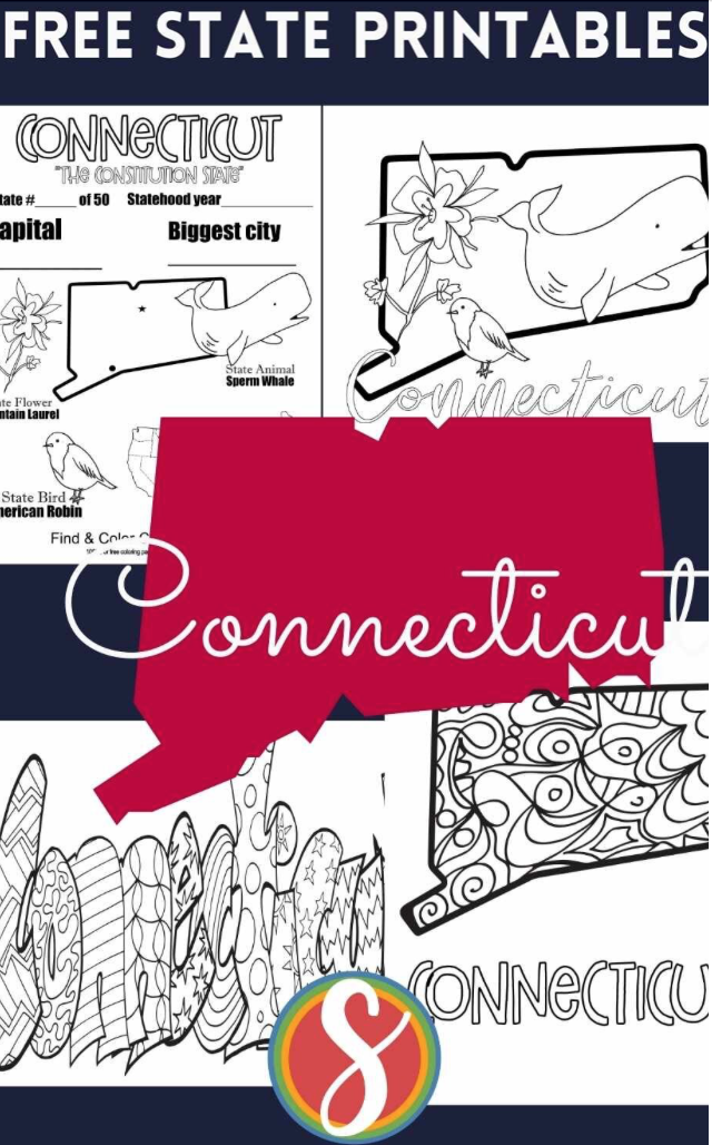 Free! Coloring pages about all 50 states from Stevie Doodles