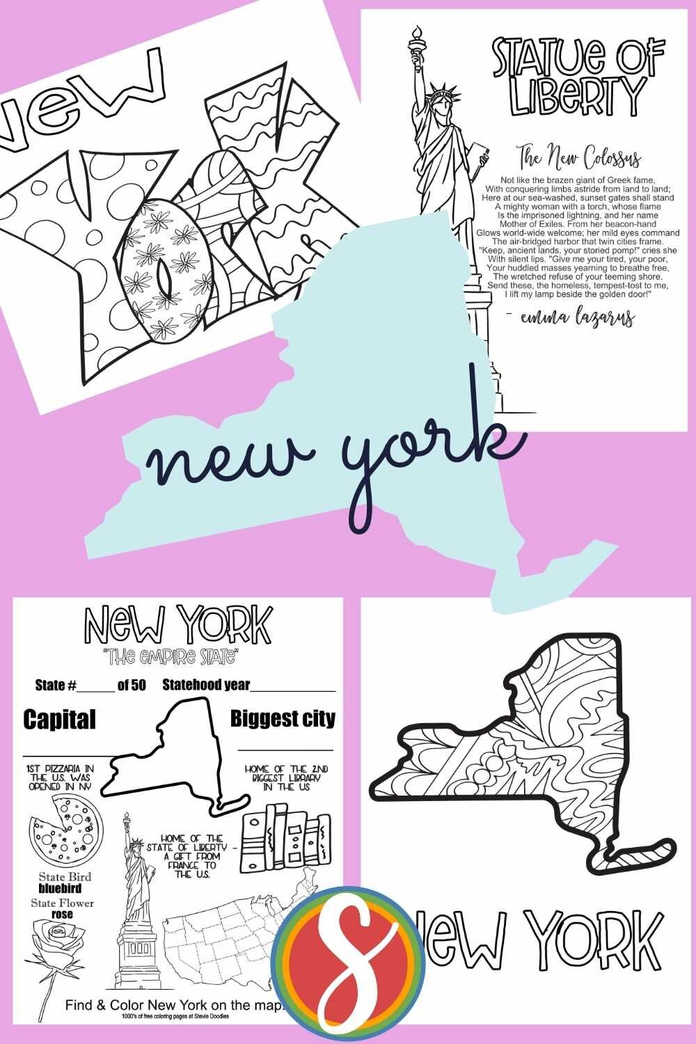 Free coloring activity pages about the United States from Stevie Doodles