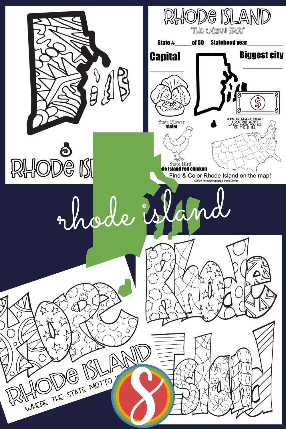 Free printable geography activity coloring pages from Stevie Doodles - print and color your favorite state pages today