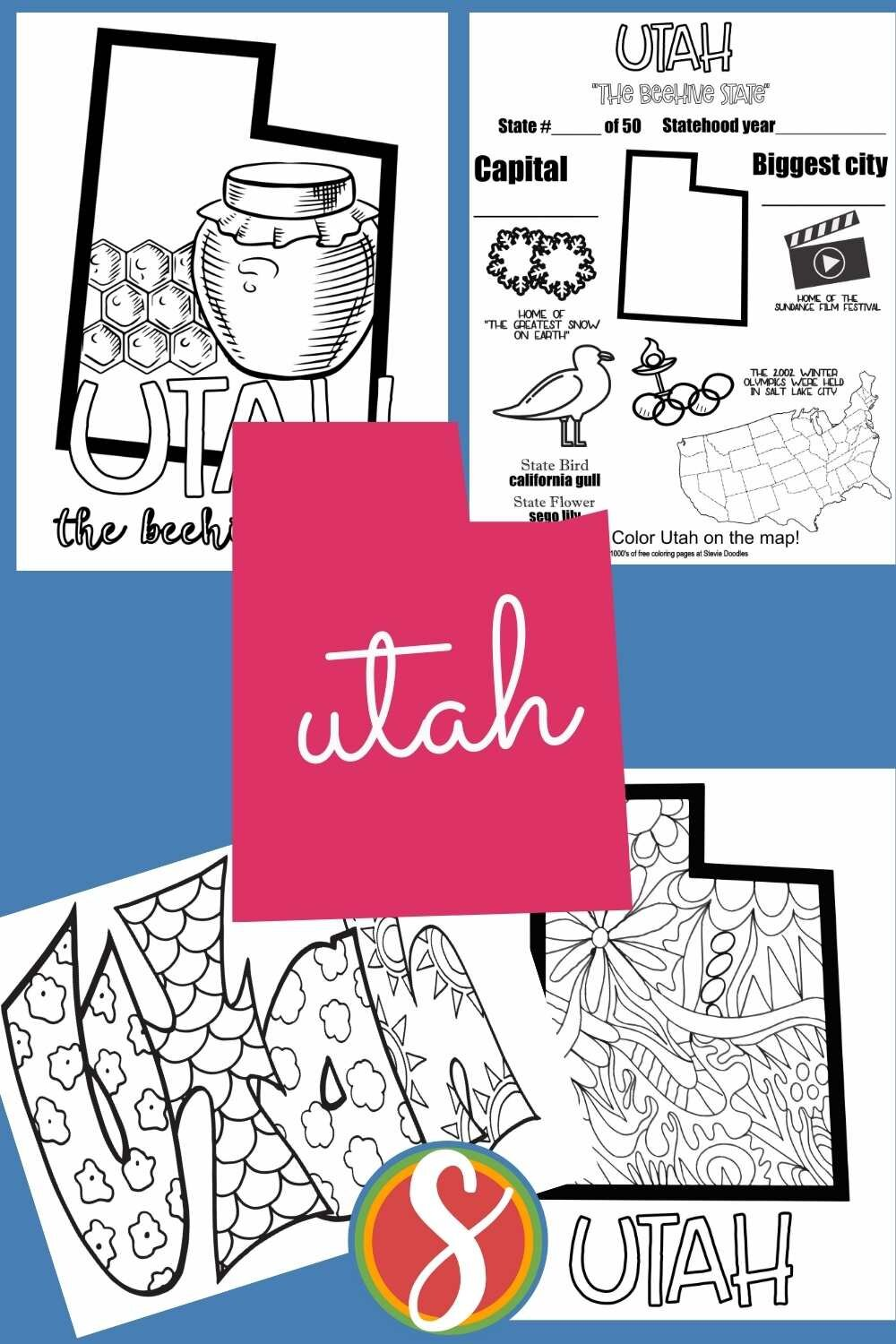 Print and color these Utah activity printable coloring pages from Stevie Doodles