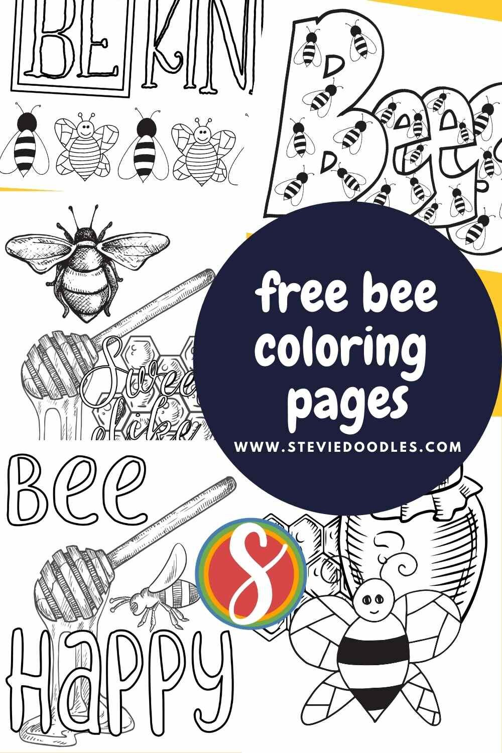 Bee Coloring Pages! A whole bunch of free printable bee coloring sheets to print and color from Stevie Doodles