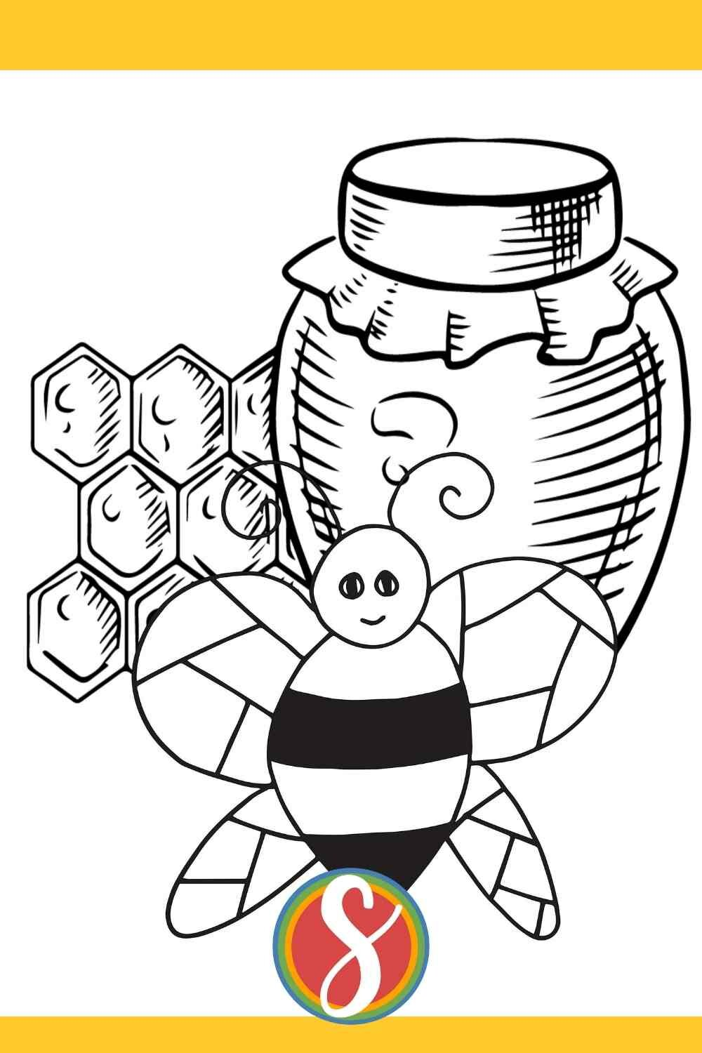 free bee coloring page from Stevie Doodles - this free kids coloring page has a bee, a jar of honey, and some honeycomb to color. Totally free to print and color from Stevie Doodles