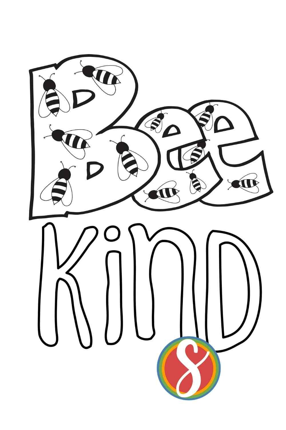 Bee kind - a free printable bee coloring sheet from Stevie Doodles