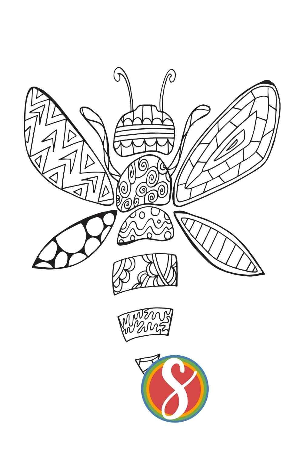 A doodle bee! Free printable bee coloring page from Stevie Doodles. Find more and more free bee pages here