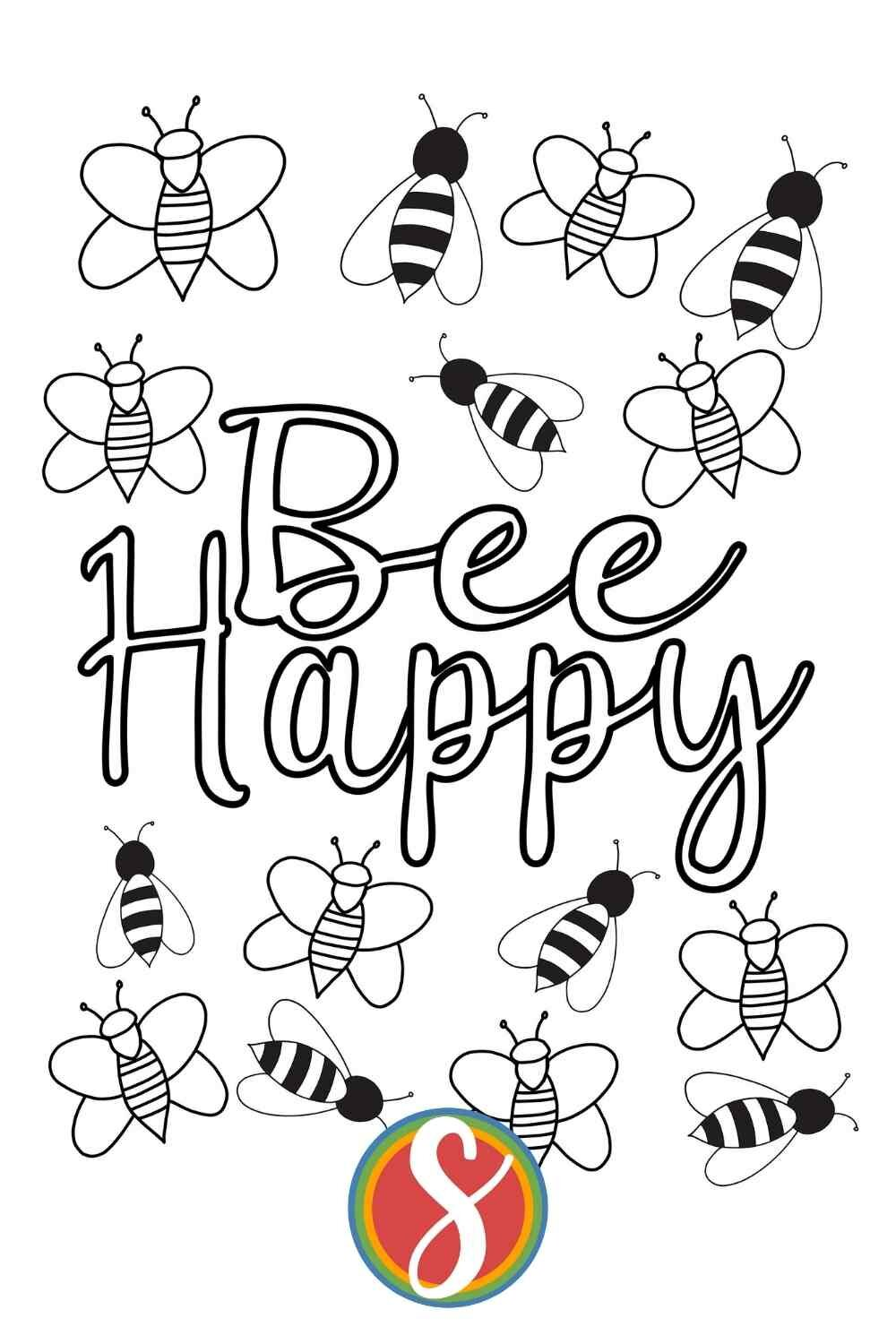 """Free bees coloring page with """"Bee happy"""" colorable text - a whole bunch of bees on this fun and free coloring page from Stevie Doodles. Bee Happy!"""